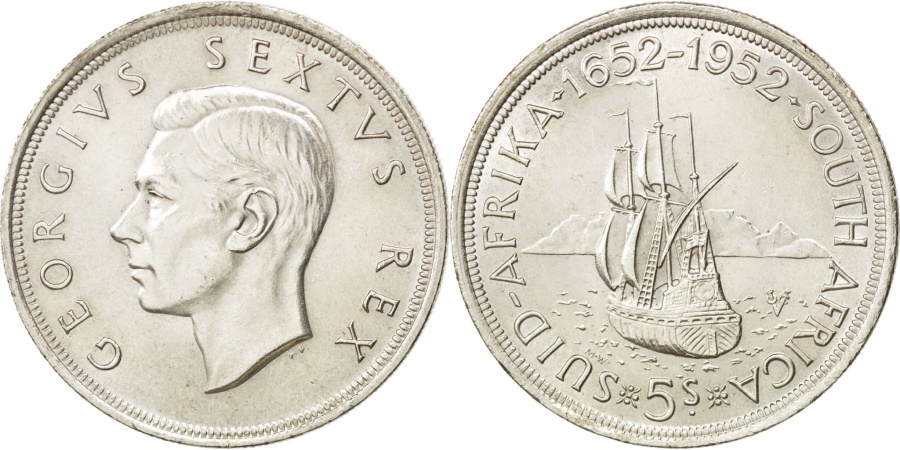 World Coins - SOUTH AFRICA, 5 Shillings, 1952, KM #41, , Silver, 38.8, 28.20