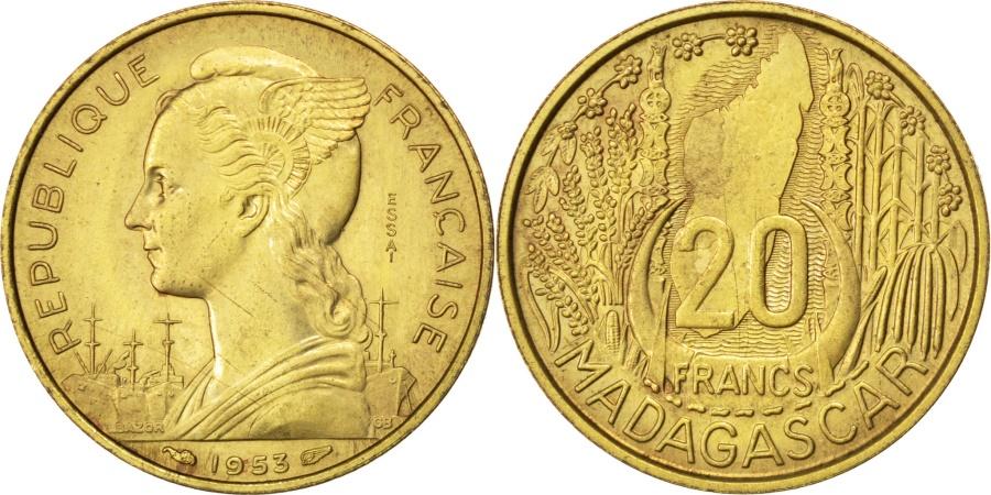 World Coins - MADAGASCAR, 20 Francs, 1953, Paris, KM #E5, , Aluminum-Bronze,...