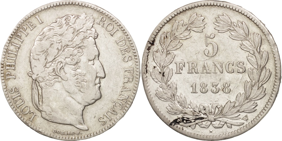 World Coins - France, Louis-Philippe, 5 Francs, 1838, Lille, , Silver,KM:749.13