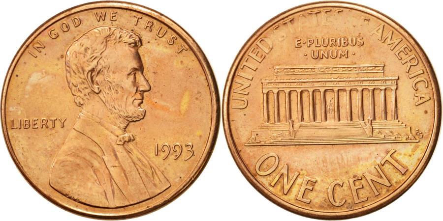US Coins - United States, Lincoln Cent, Cent, 1993, U.S. Mint, Philadelphia,