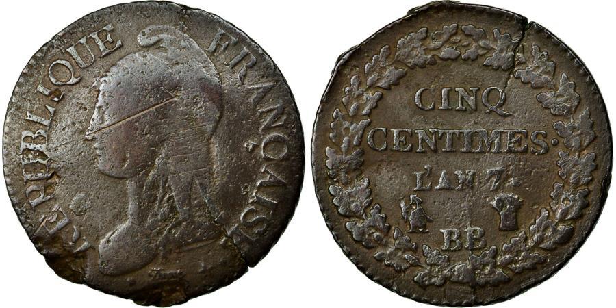 World Coins - Coin, France, Dupré, 5 Centimes, 1798, Strasbourg, VG(8-10), Bronze, KM:640.4