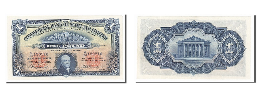 World Coins - Scotland, 1 Pound, 1938, KM #S331a, 1938-06-22, AU(55-58), G/24