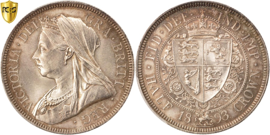World Coins - Great Britain, Victoria, 1/2 Crown, 1893, PCGS, MS64, , Silver, KM:782