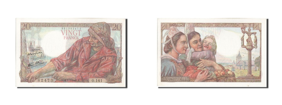 World Coins - France, 20 Francs, 20 F 1942-1950 ''Pêcheur'', 1945, KM #100b, 1945-07-05, U...