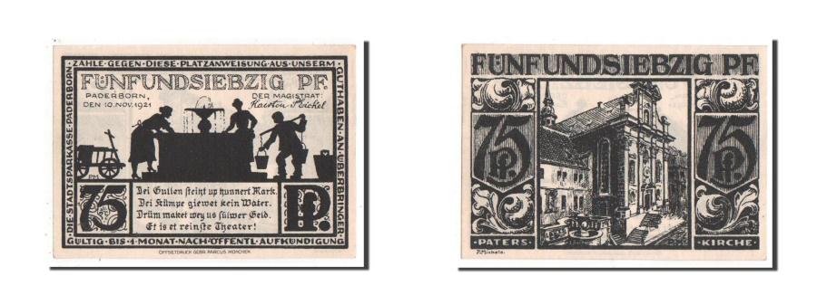 World Coins - Germany, Paderborn Stadt, 75 Pfennig, 1921, UNC(63), Mehl #1043.4