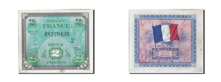 World Coins - France, 2 Francs, 1944 Flag/France, 1944, KM #114b, AU(55-58), 48329439,...