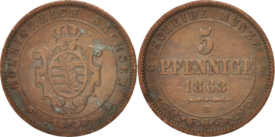 World Coins - German States, SAXONY-ALBERTINE, Johann, 5 Pfennig, 1863, , Copper
