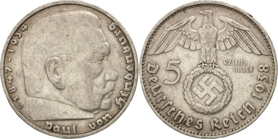 World Coins - GERMANY, THIRD REICH, 5 Reichsmark, 1938, Munich, , Silver, KM:94