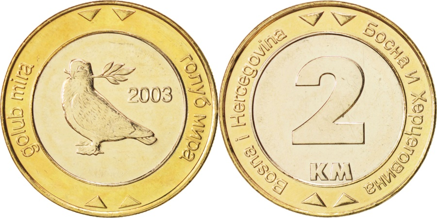 World Coins - BOSNIA-HERZEGOVINA, 2 Konvertible Marka, 2003, British Royal Mint,