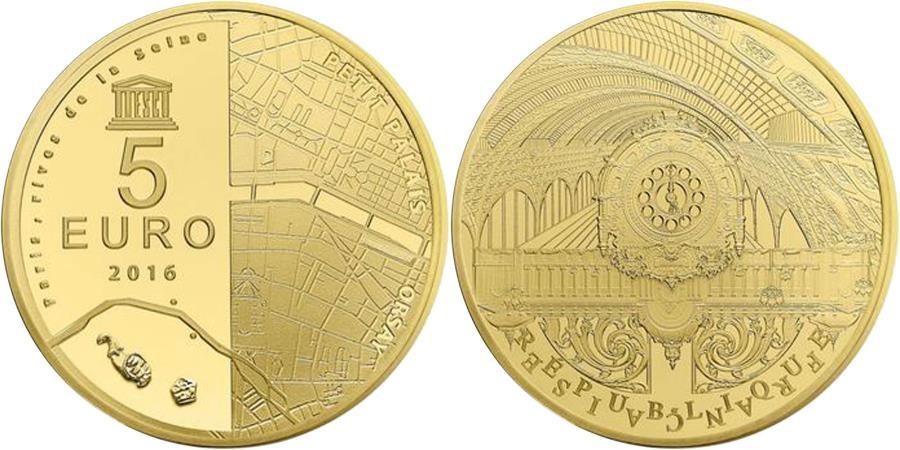 World Coins - Coin, France, Monnaie de Paris, 5 Euro, Orsay - Petit Palais, 2016, MS(65-70)