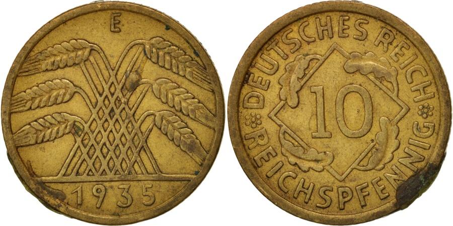 World Coins - GERMANY, WEIMAR REPUBLIC, 10 Reichspfennig, 1935, Muldenhütten,