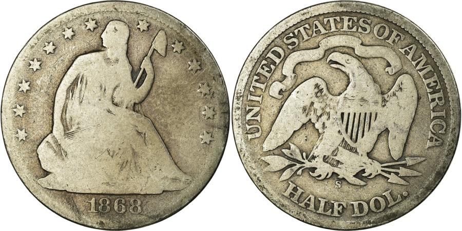 US Coins - Coin, United States, Seated Liberty Half Dollar, Half Dollar, 1868, U.S. Mint