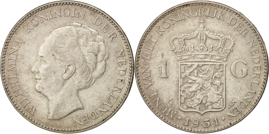 World Coins - Netherlands, Wilhelmina I, Gulden, 1931, , Silver, KM:161.1