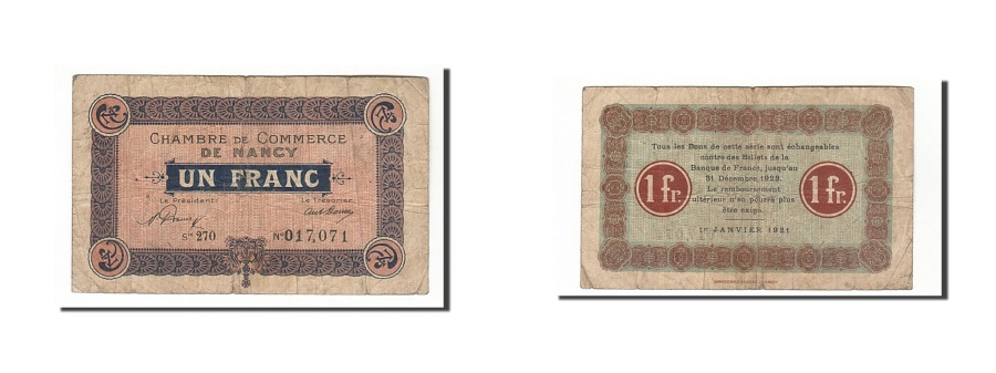 World Coins - France, Nancy, 1 Franc, 1921, VF(30-35), Pirot:87-49