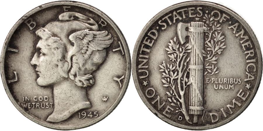 US Coins - United States, Mercury Dime, Dime, 1943, U.S. Mint, Denver, , Silver