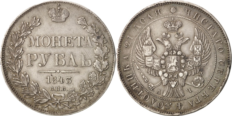 World Coins - Russia, Rouble, 1843, Saint-Petersburg, , Silver, KM:168.1