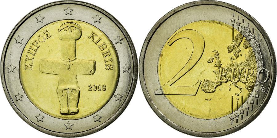 World Coins - Cyprus, 2 Euro, 2008, , Bi-Metallic, KM:85