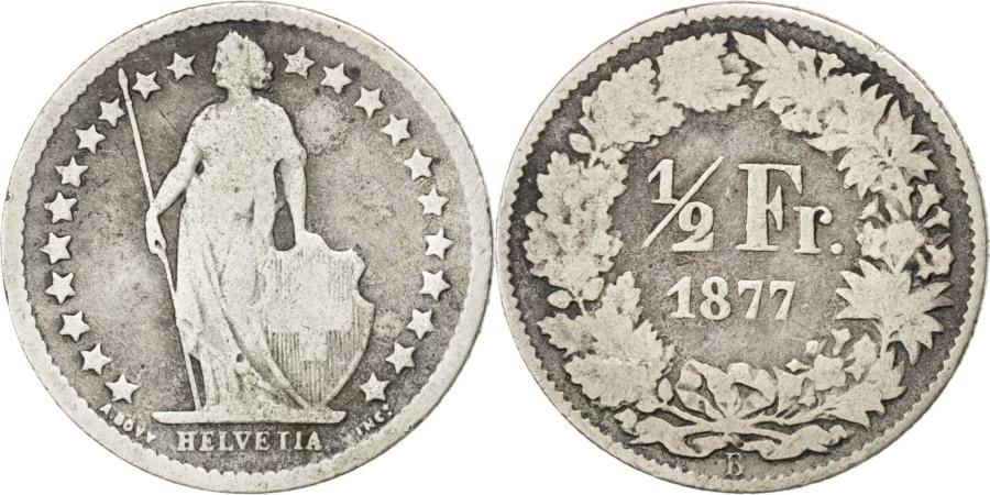 World Coins - SWITZERLAND, 1/2 Franc, 1877, Bern, KM #23, , Silver, 18.2, 2.31