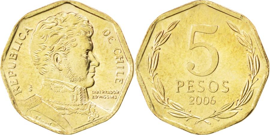 World Coins - CHILE, 5 Pesos, 2006, Santiago, KM #232, , Aluminum-Bronze, 15.5, 2.20