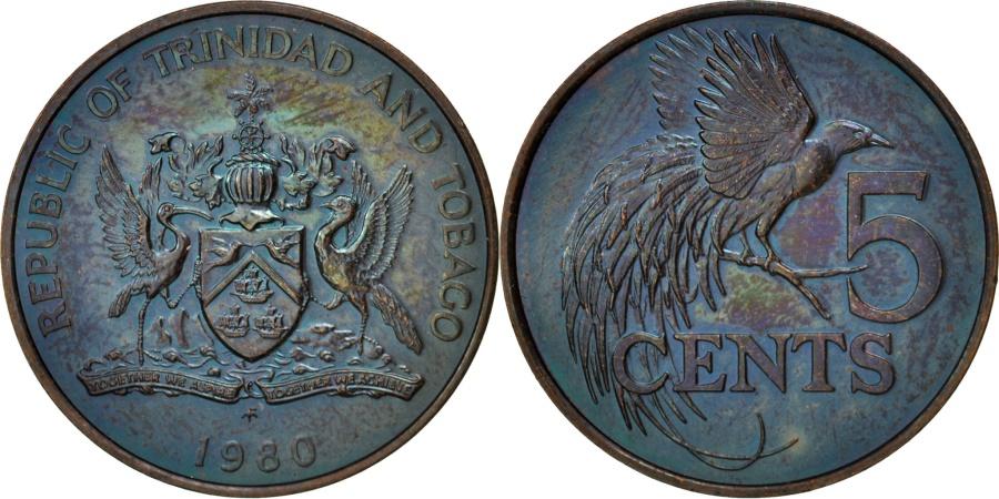 World Coins - TRINIDAD & TOBAGO, 5 Cents, 1980, , Bronze, KM:30