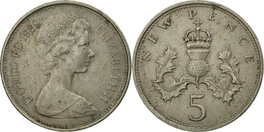 World Coins - Coin, Great Britain, Elizabeth II, 5 New Pence, 1969, , Copper-nickel