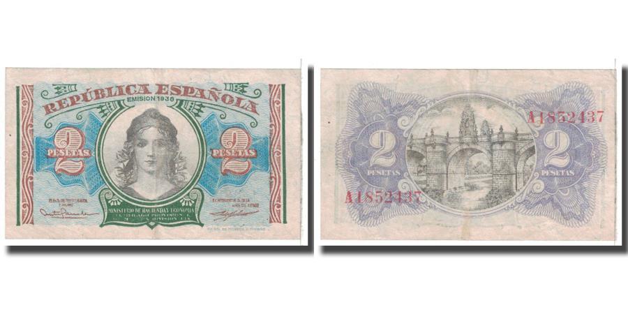 World Coins - Banknote, Spain, 2 Pesetas, 1938, KM:95, VF(20-25)