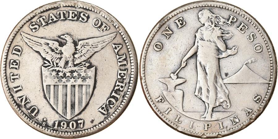 World Coins - Coin, Philippines, Peso, 1907, San Francisco, , Silver, KM:172