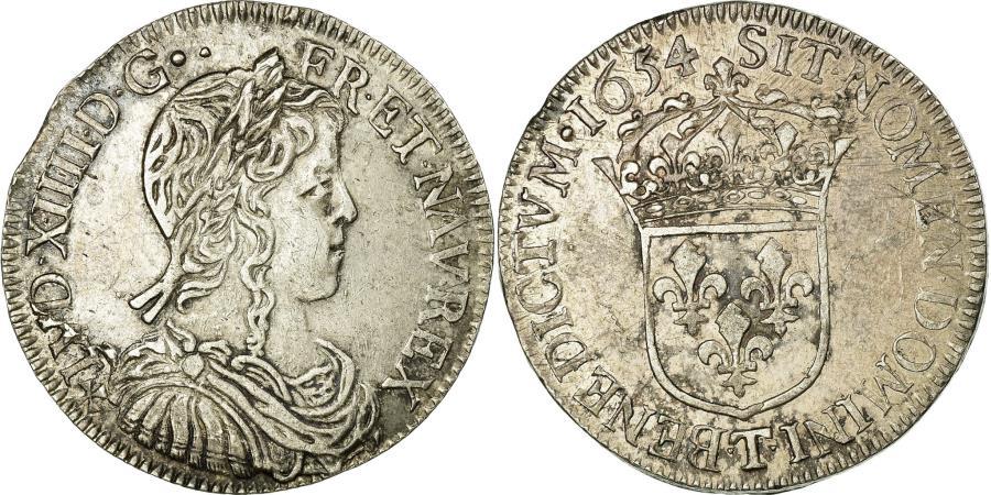World Coins - Coin, France, Louis XIV, 1/2 Écu à la mèche longue, 1/2 Ecu, 1654, Nantes