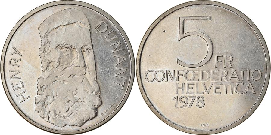 World Coins - Coin, Switzerland, Henry Dunant, 5 Francs, 1978, , Copper-nickel