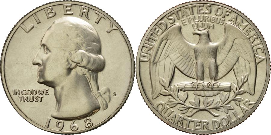 US Coins - Coin, United States, Washington Quarter, Quarter, 1968, U.S. Mint, San