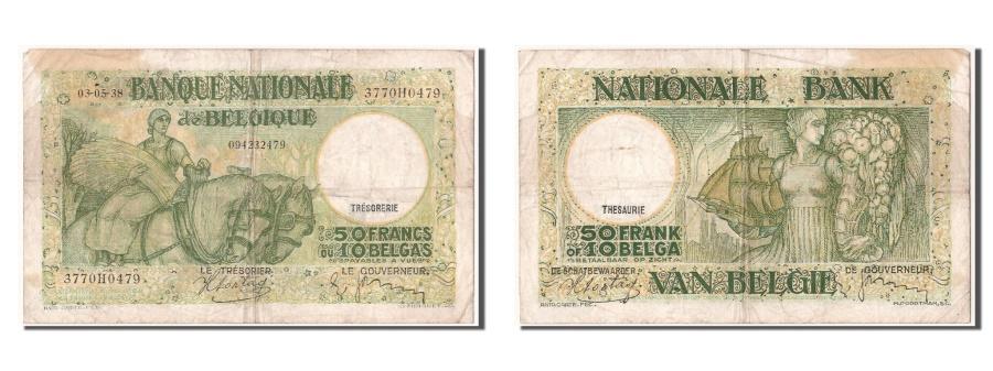 World Coins - Belgium, 50 Francs-10 Belgas, 1938, KM #106, 1938-05-03, VF(30-35), 3770H0479