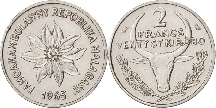 World Coins - Madagascar, 2 Francs, 1965, Paris, , Stainless Steel, KM:9
