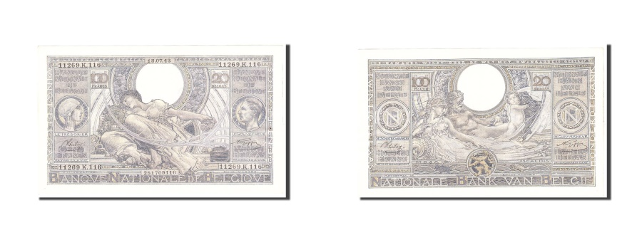 World Coins - Belgium, 100 Francs-20 Belgas, 1943, KM:107, 1943-07-13, AU(55-58)