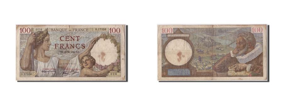 World Coins - FRANCE, 100 Francs, 100 F 1939-1942 ''Sully'', 1940, 1940-12-19, VF(30-35),...