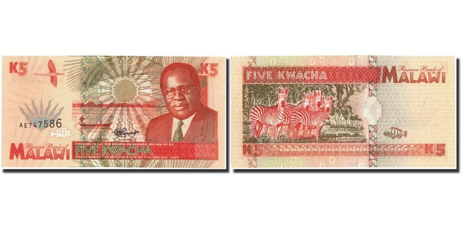 5 Kwacha //ZEBRAs Banknote UNC Malawi 1995