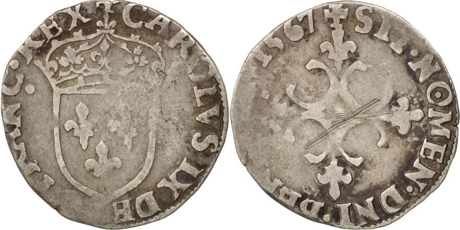 World Coins - France, Charles IX, Sol Parisis, 1597, Paris, , Silver, Duplessy:1083