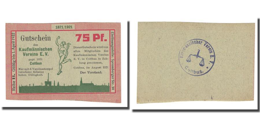 World Coins - Banknote, Germany, Cottbus, 75 Pfennig, valeur faciale, 1921, AU(55-58)