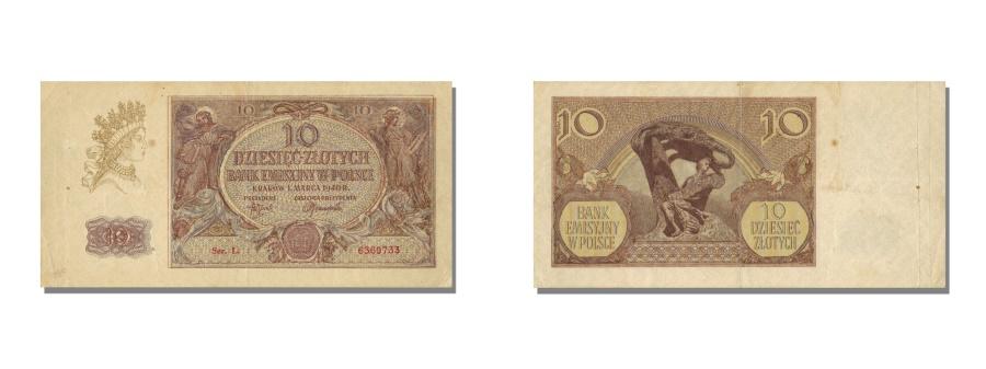 World Coins - Poland, 10 Zlotych, 1940, KM #94, 1940-03-01, AU(55-58), L