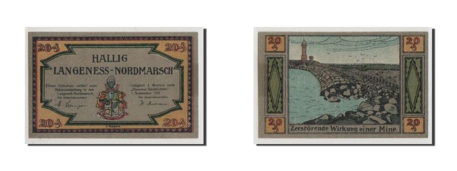 World Coins - Germany, Langeness Nordmarsch, 20 Pfennig, 1921, UNC(65-70), Mehl #767.1