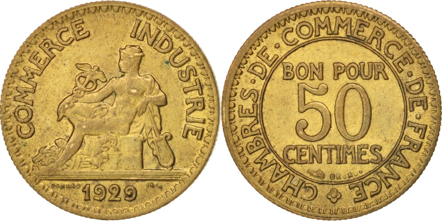 France chambre de commerce 50 centimes 1929 au 50 53 for Chambre de commerce polonaise en france