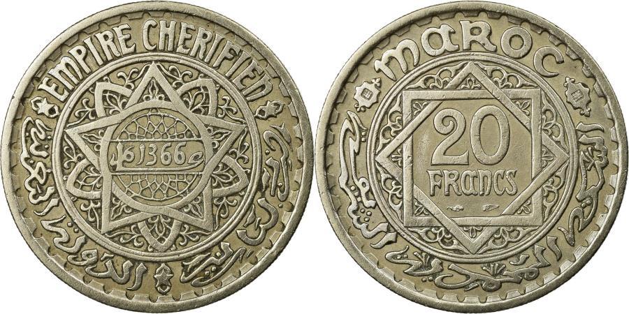 World Coins - Coin, Morocco, Mohammed V, 20 Francs, AH 1366/1947, Paris,