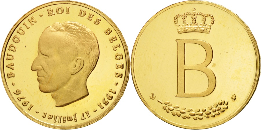World Coins - Belgium, Module of 20 Francs, 1976, French legend, , Gold