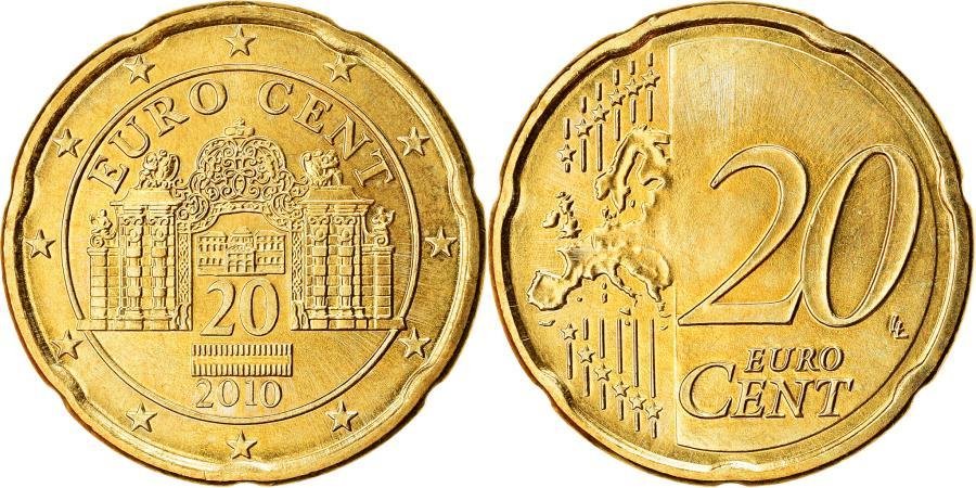 World Coins - Austria, 20 Euro Cent, 2010, , Brass, KM:3140