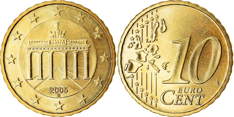 World Coins - GERMANY - FEDERAL REPUBLIC, 10 Euro Cent, 2005, , Brass, KM:210
