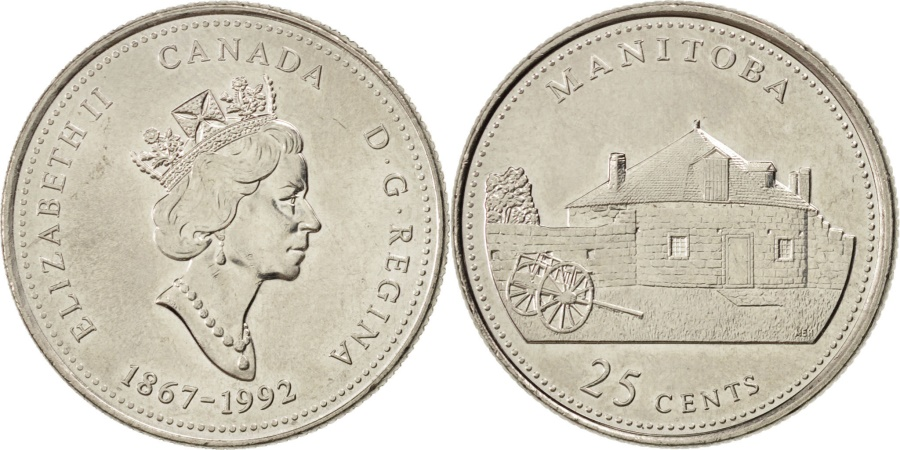 World Coins - CANADA, 25 Cents, 1992, Royal Canadian Mint, KM #214, , Nickel, 23.8, 5.07