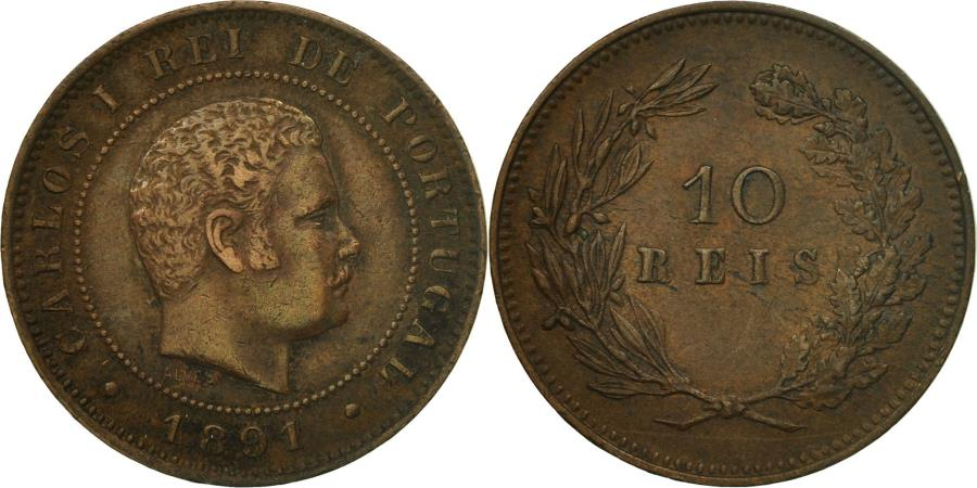 World Coins - Coin, Portugal, Carlos I, 10 Reis, 1891, Portugal Mint, , Bronze