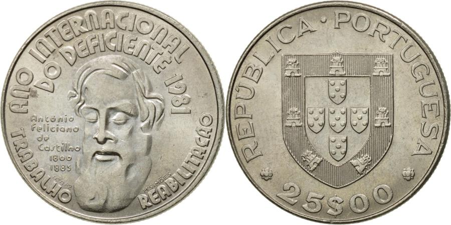 World Coins - Coin, Portugal, 25 Escudos, 1981, , Copper-nickel, KM:607a