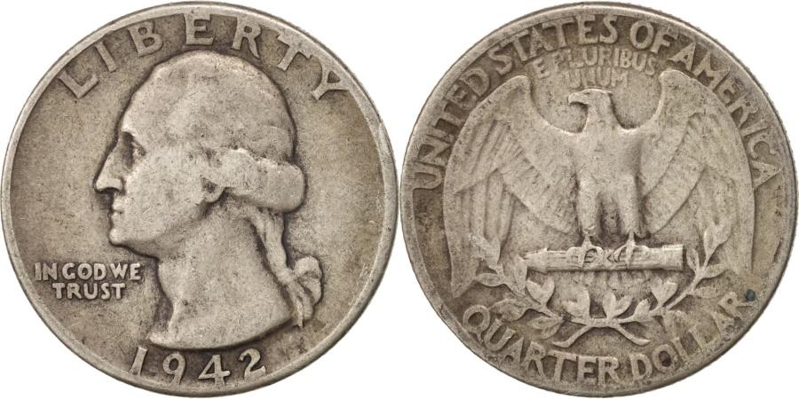 US Coins - United States, Washington Quarter, 1942, Philadelphia, KM 164