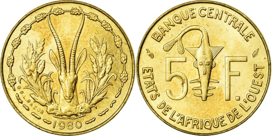 World Coins - Coin, West African States, 5 Francs, 1980, AU(55-58), Aluminum-Nickel-Bronze