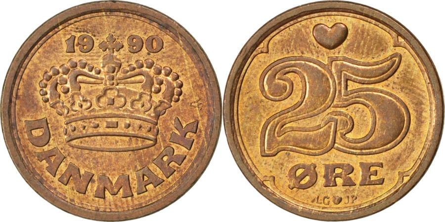 World Coins - DENMARK, 25 Ore, 1990, KM #868.1, , Bronze, 17.5, 2.80